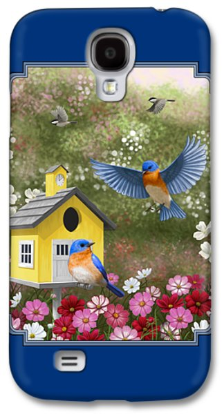 Bluebirds And Yellow Birdhouse Galaxy S4 Case by Crista Forest