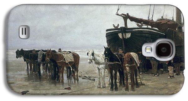 Boat On The Beach At Scheveningen Galaxy S4 Case by Anton Mauve