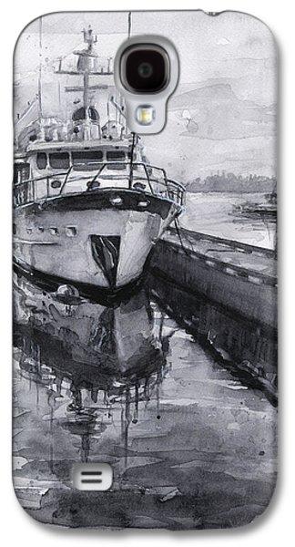 Seattle Galaxy S4 Case - Boat On Waterfront Marina Kirkland Washington by Olga Shvartsur