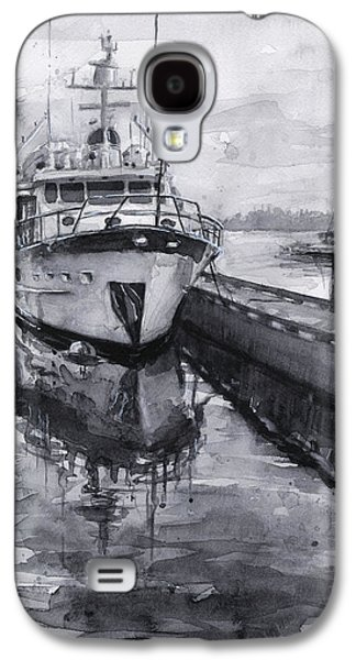 Boat On Waterfront Marina Kirkland Washington Galaxy S4 Case by Olga Shvartsur