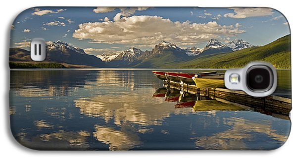 Galaxy S4 Case featuring the photograph Boats At Lake Mcdonald by Gary Lengyel
