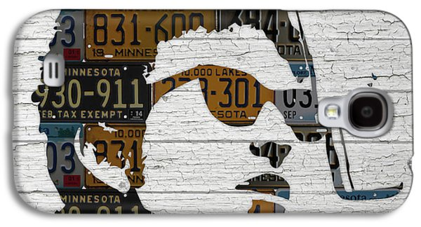 Bob Dylan Minnesota Native Recycled Vintage License Plate Portrait On White Wood Galaxy S4 Case by Design Turnpike