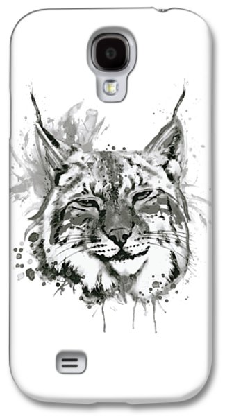Bobcat Head Black And White Galaxy S4 Case by Marian Voicu