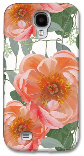 Bold Peony Seeded Eucalyptus Leaves Repeat Pattern Galaxy S4 Case