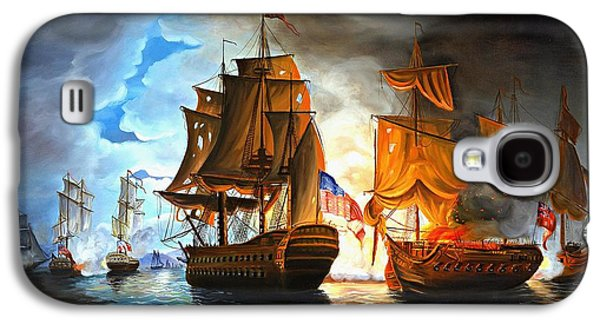 Bonhomme Richard Engaging The Serapis In Battle Galaxy S4 Case by Paul Walsh