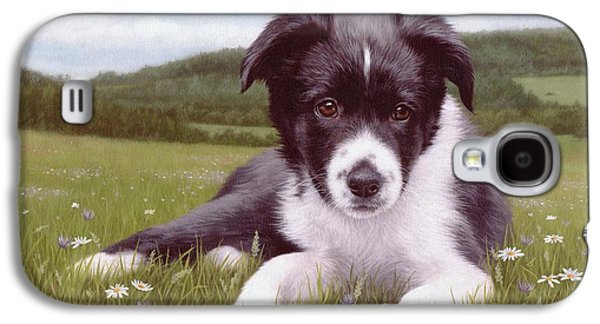 Border Collie Puppy Painting Galaxy S4 Case by Rachel Stribbling