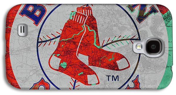 Boston Red Sox Logo On Old Boston Map Galaxy S4 Case by Pablo Franchi