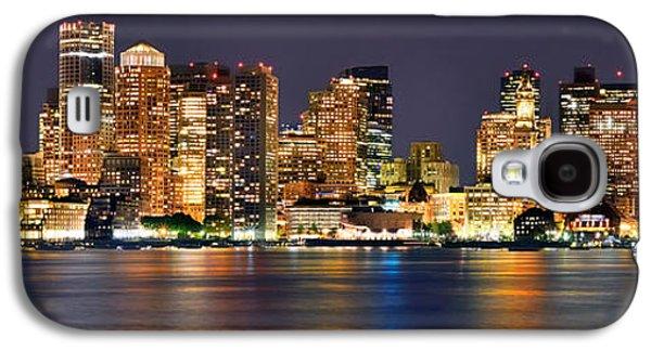 Boston Galaxy S4 Case - Boston Skyline At Night Panorama by Jon Holiday