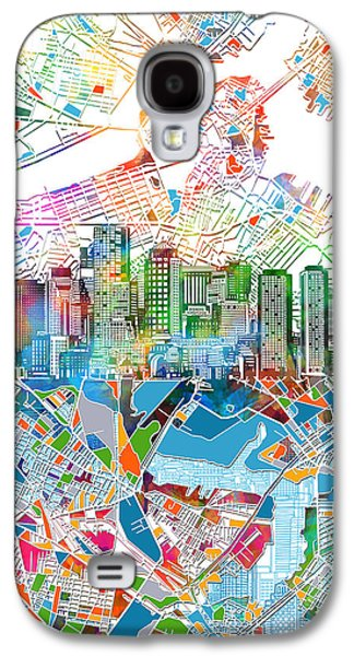 Boston Skyline White Galaxy S4 Case