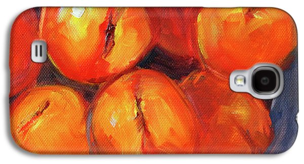 Galaxy S4 Case featuring the painting Bowl Of Peaches Still Life by Nancy Merkle
