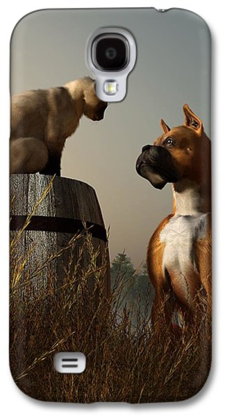 Boxer And Siamese Galaxy S4 Case by Daniel Eskridge