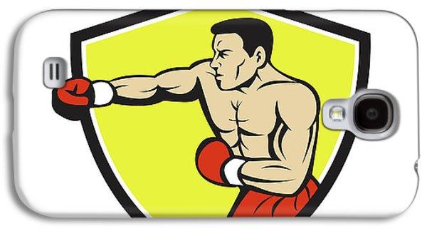 Boxer Jabbing Punching Crest Cartoon Galaxy S4 Case