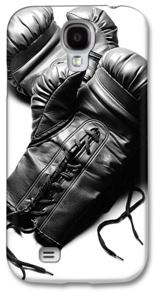 Boxer Galaxy S4 Cases - Boxing Gloves in Black andWhite Galaxy S4 Case by Rebecca Brittain