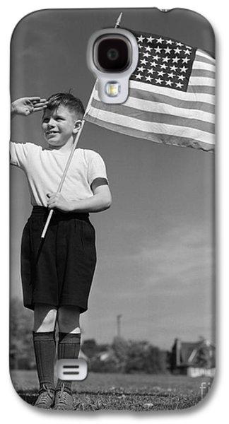 Boy Holding American Flag & Saluting Galaxy S4 Case