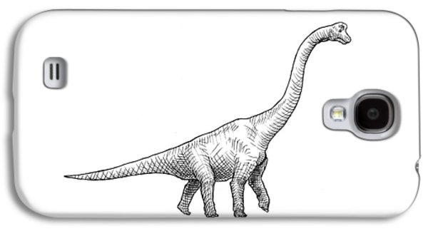 Brachiosaurus Black And White Dinosaur Drawing  Galaxy S4 Case by Karen Whitworth