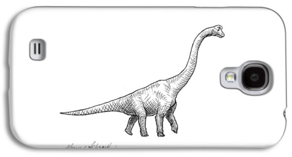 Brachiosaurus Black And White Dinosaur Drawing  Galaxy S4 Case