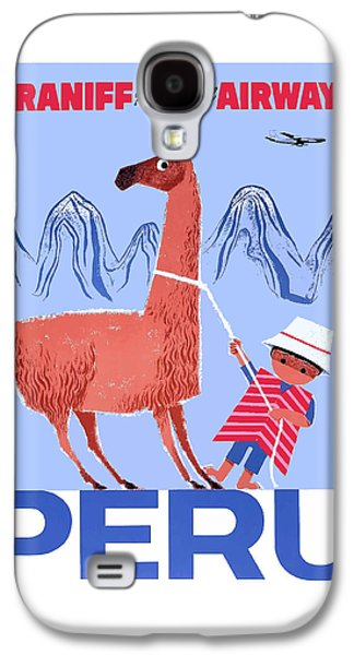Llama Galaxy S4 Case - Braniff Airways Peru Child And Llama Travel Poster by Retro Graphics