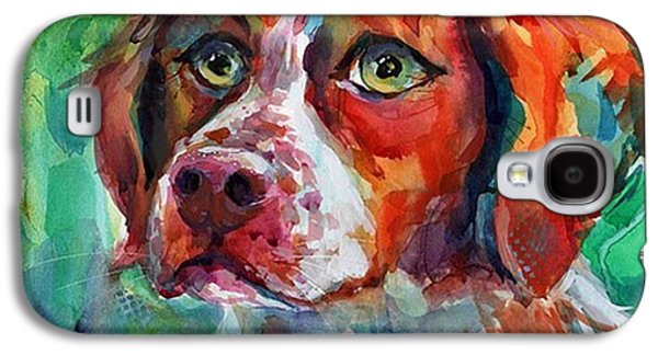 Brittany Spaniel Watercolor Portrait By Galaxy S4 Case