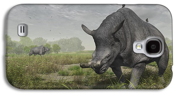 Brontotherium Wander The Lush Late Galaxy S4 Case by Walter Myers
