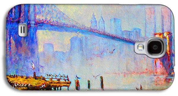 Brooklyn Bridge In A Foggy Morning Galaxy S4 Case by Ylli Haruni