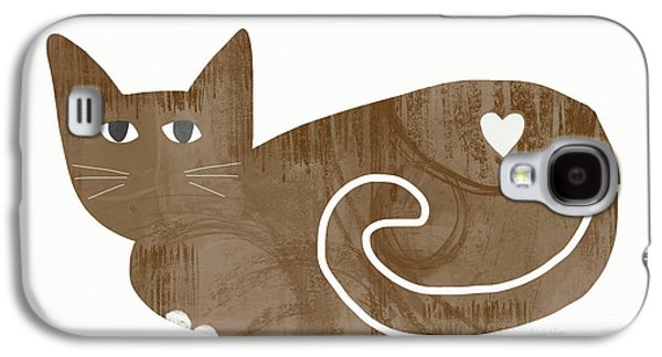 Brown Cat- Art By Linda Woods Galaxy S4 Case by Linda Woods