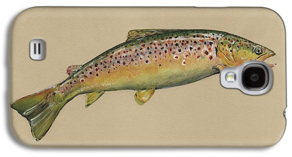 Brown Trout Jumping Galaxy S4 Case by Juan Bosco