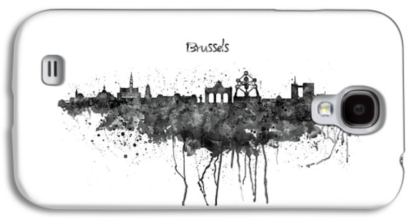 Brussels Black And White Skyline Silhouette Galaxy S4 Case by Marian Voicu