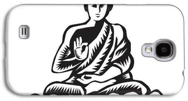 Buddha Lotus Pose Woodcut Galaxy S4 Case