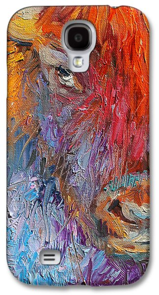 Buffalo Bison Wild Life Oil Painting Print Galaxy S4 Case by Svetlana Novikova