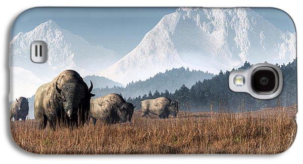 Buffalo Grazing Galaxy S4 Case by Daniel Eskridge