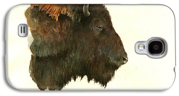 Buffalo Portrait Head Galaxy S4 Case by Juan  Bosco