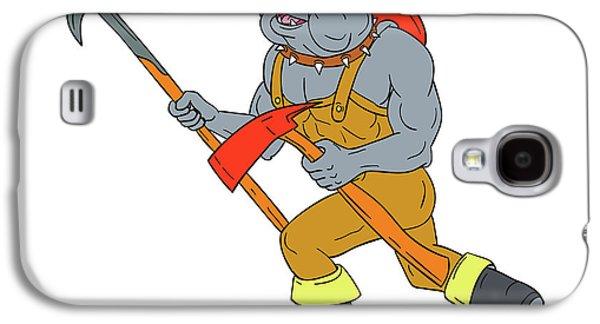Bulldog Firefighter Pike Pole Fire Axe Drawing Galaxy S4 Case