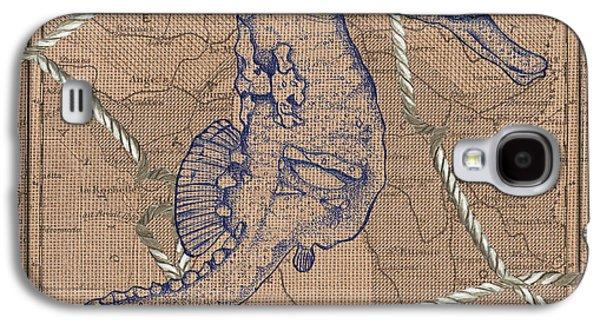 Burlap Seahorse Galaxy S4 Case by Debbie DeWitt