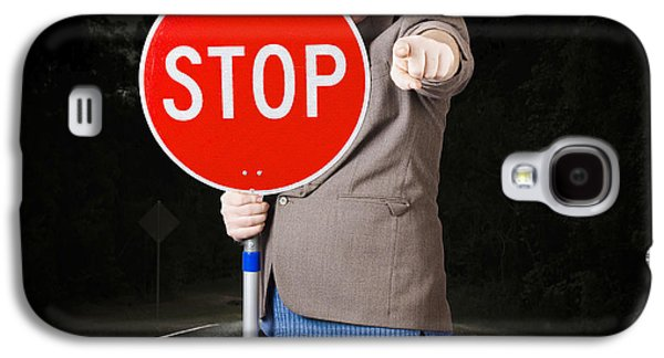 Business Man Holding Road Stop Sign Galaxy S4 Case