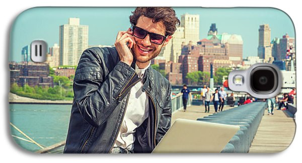 Businessman Enjoying Working Outside Galaxy S4 Case