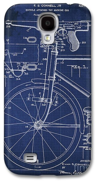 Bycicle Attached Toy Machine Gun Patent Blueprint, Year 1951 Blue Vintage Art Galaxy S4 Case by Pablo Franchi