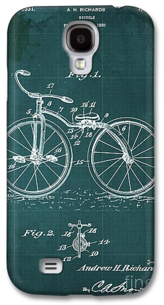 Bycicle Patent Blueprint Year 1930 Green Vintage Poster Galaxy S4 Case by Pablo Franchi