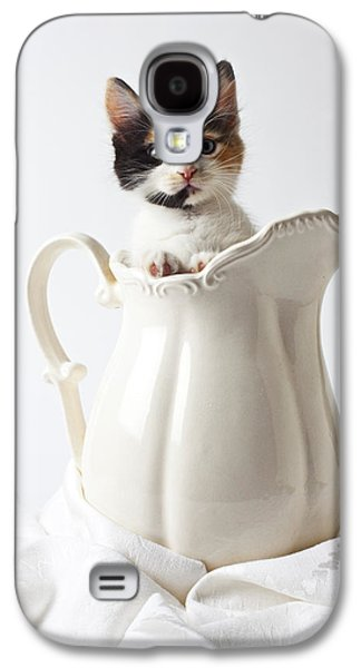 Calico Kitten In White Pitcher Galaxy S4 Case by Garry Gay