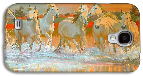 Wild Horse Paintings Galaxy S4 Cases - Camargue  Galaxy S4 Case by William Ireland
