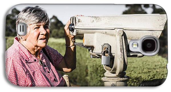 Candid Senior Woman Enjoying A Mountain Top View Galaxy S4 Case by Jorgo Photography - Wall Art Gallery