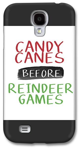 Candy Canes Before Reindeer Games- Art By Linda Woods Galaxy S4 Case by Linda Woods