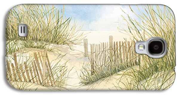 Cape Cod Paintings Galaxy S4 Cases - Cape Cod Dunes and Fence Galaxy S4 Case by Virginia McLaren
