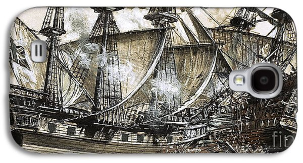Captain Maynard's Sloop Bore Down On The Pirate Ship Galaxy S4 Case by Clive Uptton