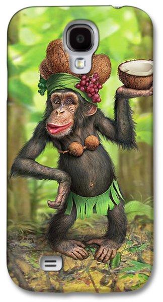 Chimpanzee Galaxy S4 Case - Carmen Coconuts by Mark Fredrickson