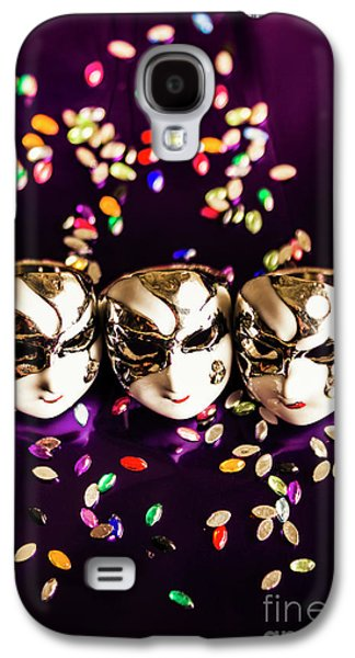 Carnival Mask Jewelry On Purple Background Galaxy S4 Case by Jorgo Photography - Wall Art Gallery