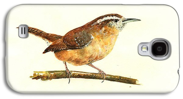Carolina Wren Watercolor Painting Galaxy S4 Case