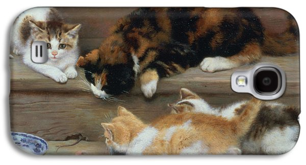 Cat And Kittens Chasing A Mouse   Galaxy S4 Case