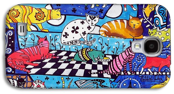 Galaxy S4 Case featuring the painting Cat Cocktail - Cat Art By Dora Hathazi Mendes by Dora Hathazi Mendes