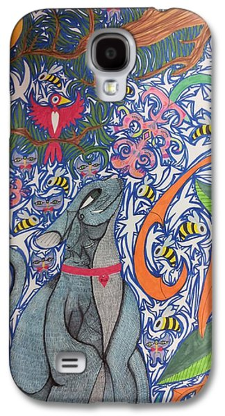 Cat Smelling A Flower 3 Galaxy S4 Case by William Douglas