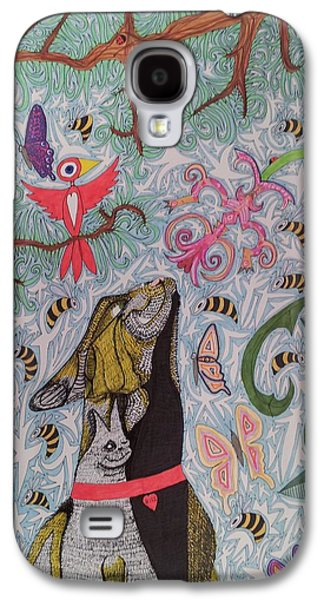 Cat Smelling Flower 2 Galaxy S4 Case by William Douglas
